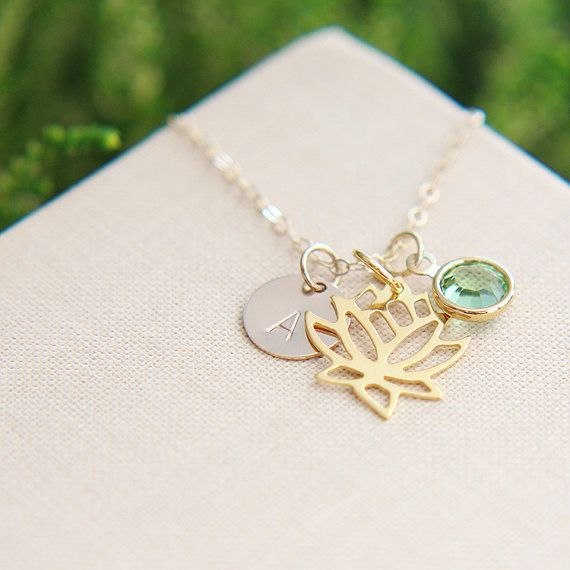 Personalized Necklace Initial Disc Dainty Lotus Flower Necklace Blooming Lotus Necklace Birthstone Necklace Best friend gift
