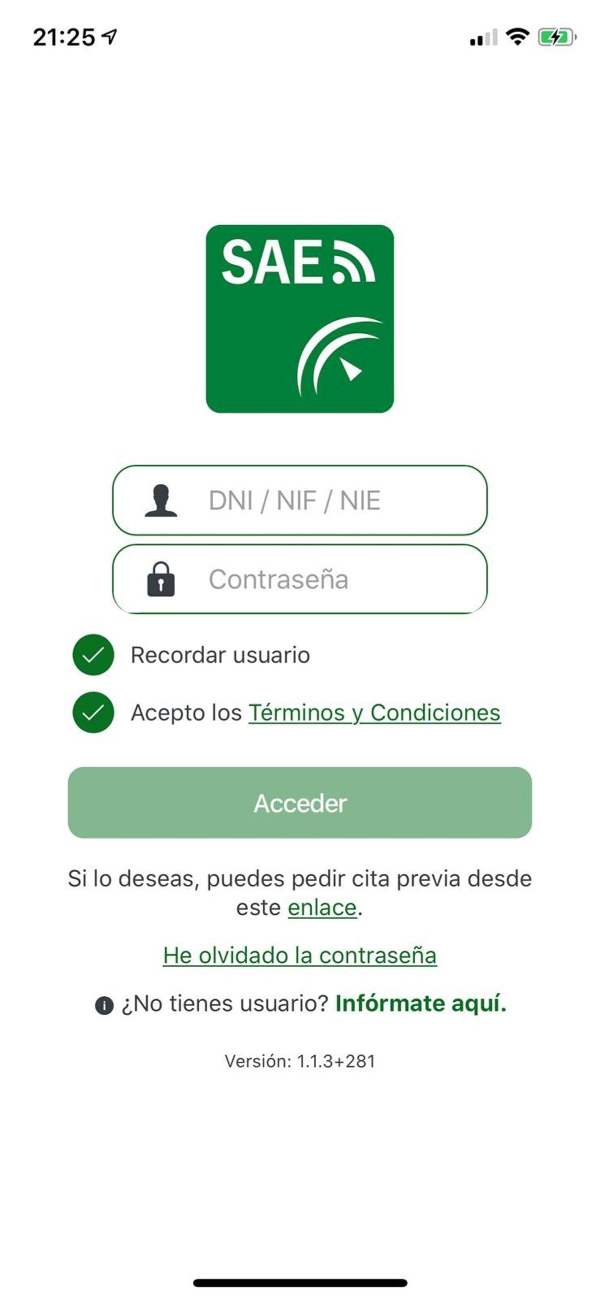pagina principal de la app del SAE