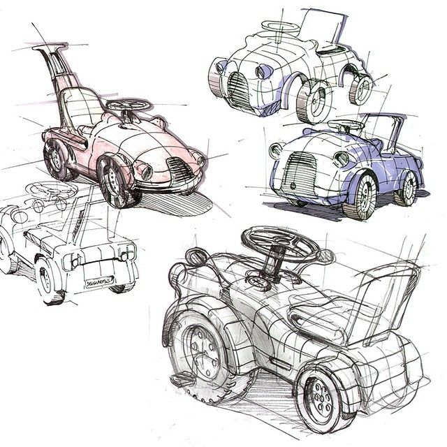 An ideation sketch back from a toy design project. Electrical car ...