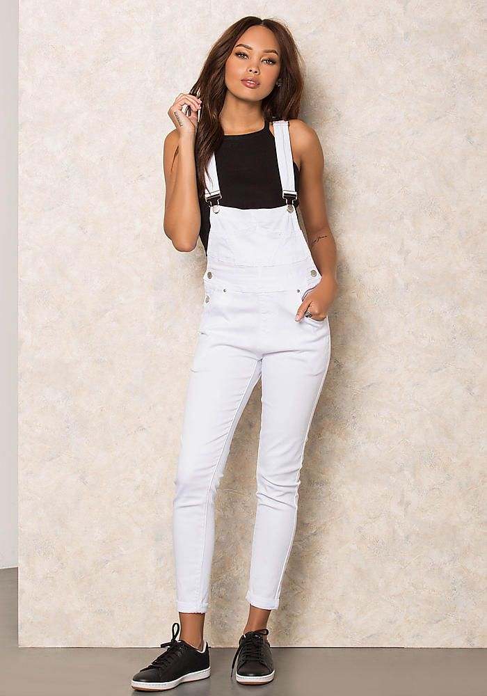 innovative design limited price designer fashion White Classic Denim Skinny Overalls - LoveCulture.com ...