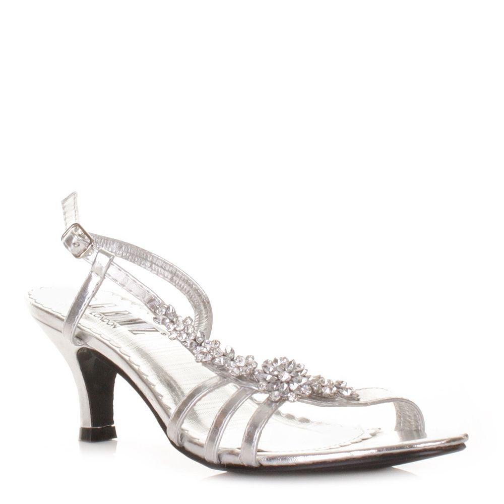 Low Heel Silver Diamante Bridesmaid Shoes