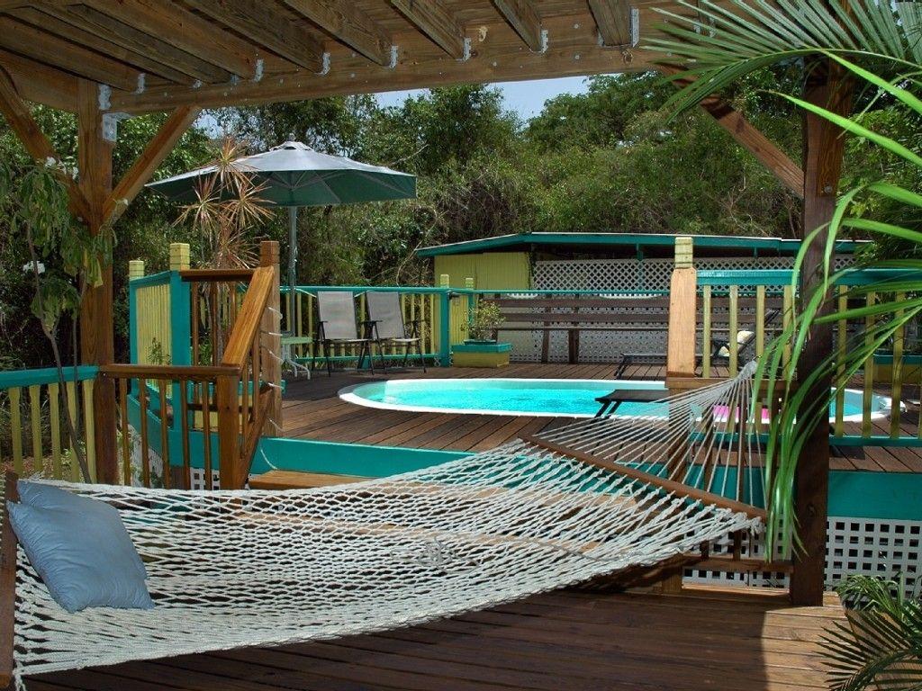 St. John - Hammocks stretched poolside make relaxing easy