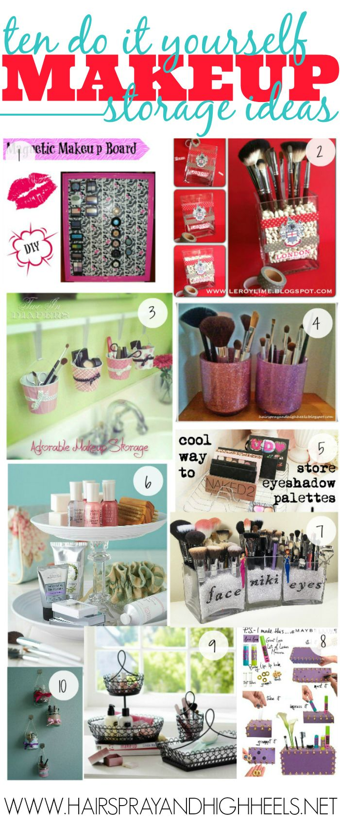 I am always struggling with places to store my makeup, ways to do it. Space savers etc.. I love DIY projects so I wanted to share with you 10 of my favorite DIY Makeup Storage Ideas! So much fun and new ways to keep your makeup stored! 1. DIY Magnetic Makeup Board {Hairspray and High …