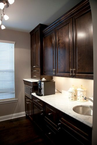 Dark Stained Cabinets Dark Floors Marble Tops Grey Walls
