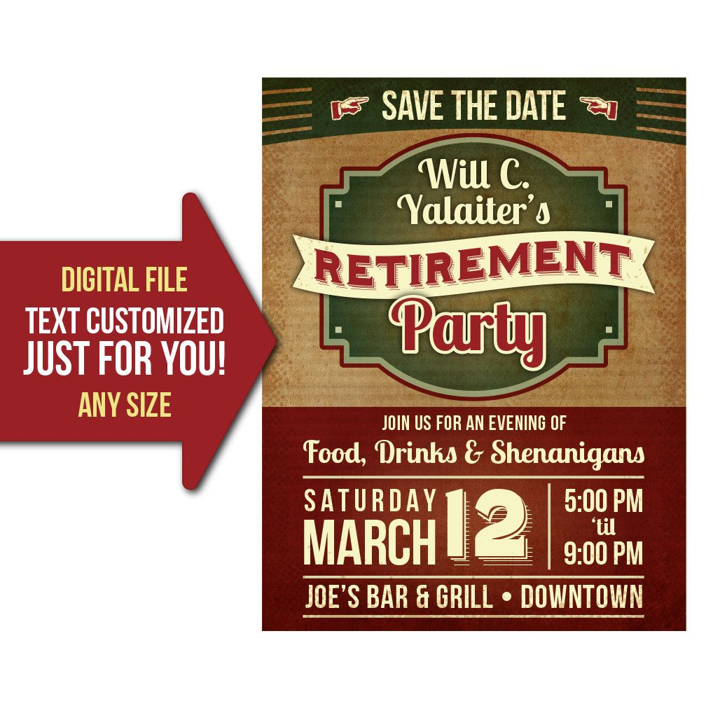 retirement party event retro vintage retire party flyer