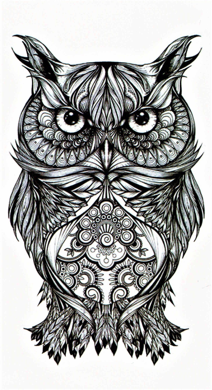 Owl Bird Smart Luck Flight Animal Temporary Tattoo Fake Tattoo