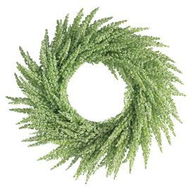 "Welcome guests to your home in natural style with this charming wreath, featuring a lovely swirl of faux wildflowers.  Product: WreathConstruction Material: PlasticColor: Green  Features: 2 lbs  Dimensions: 12"" Diameter"