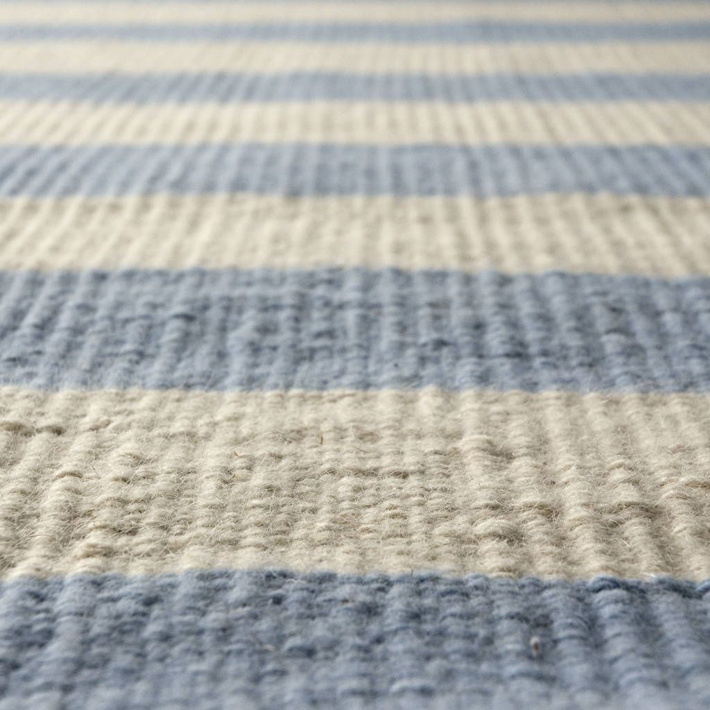 handcrafted striped rug light blue and offwhite flat woven  - our malibu rug in light blue is a modern striped custom rug perfect forcoastal and beachthemed homes this popular light blue and white rug givesoff a