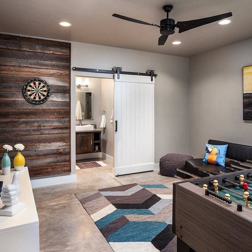 Home Gym Design Ideas Basement: Basement Remodel With Barn Door Hardware And Reclaimed