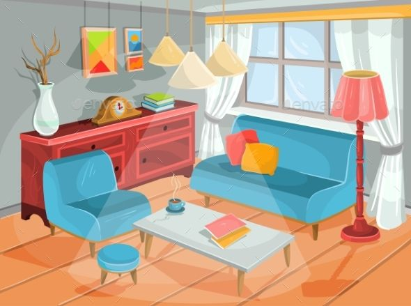 Vector Illustration Of A Cozy Cartoon Interior Interior Paint Colors For Living Room Interior Decorating Pictures Interior Illustration