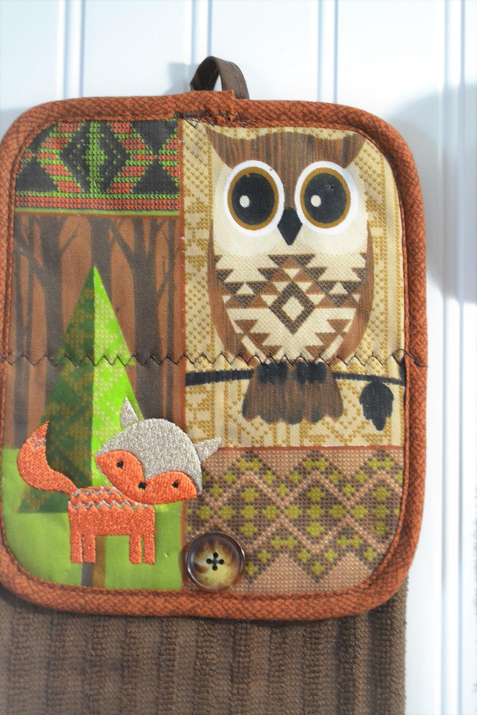Kitchen towels oven mitt owl fox decor embroidered quilted decoration bridal shower gifts kitchen ideas forrest woodlandunique style