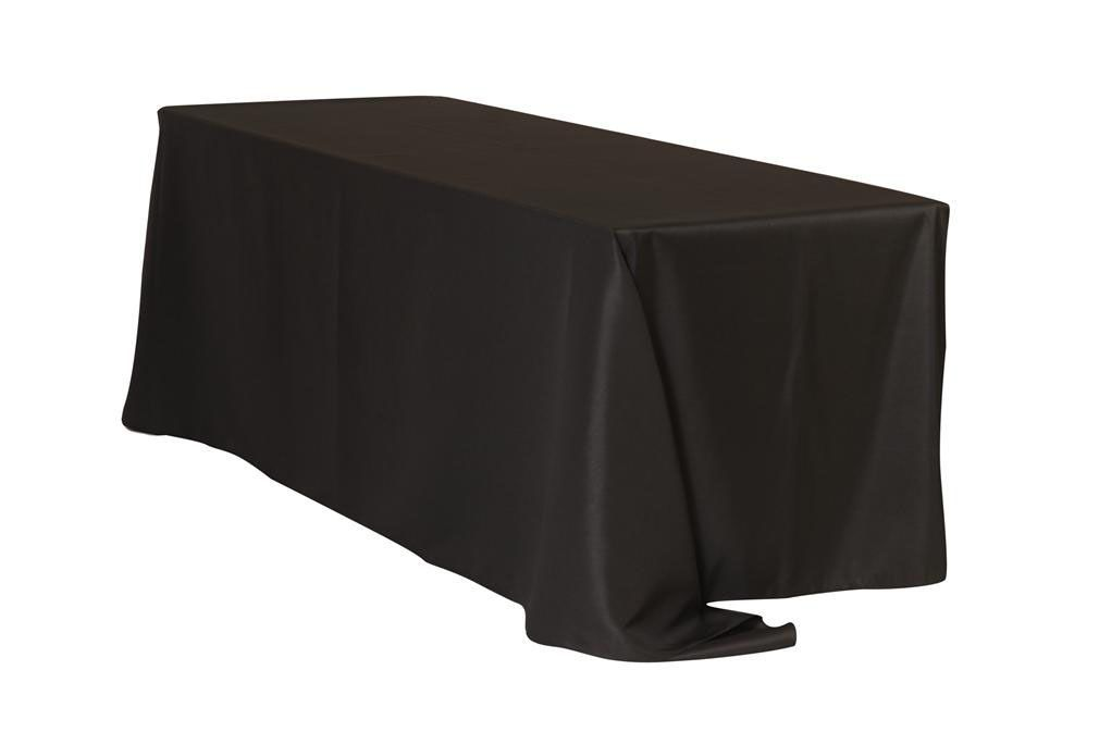 90 X 132 Inch Rectangular Polyester Tablecloth Black Black