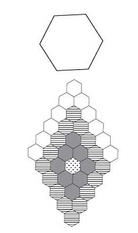Free English Paper Piecing 1 Inch Hex Diamond Double Ring