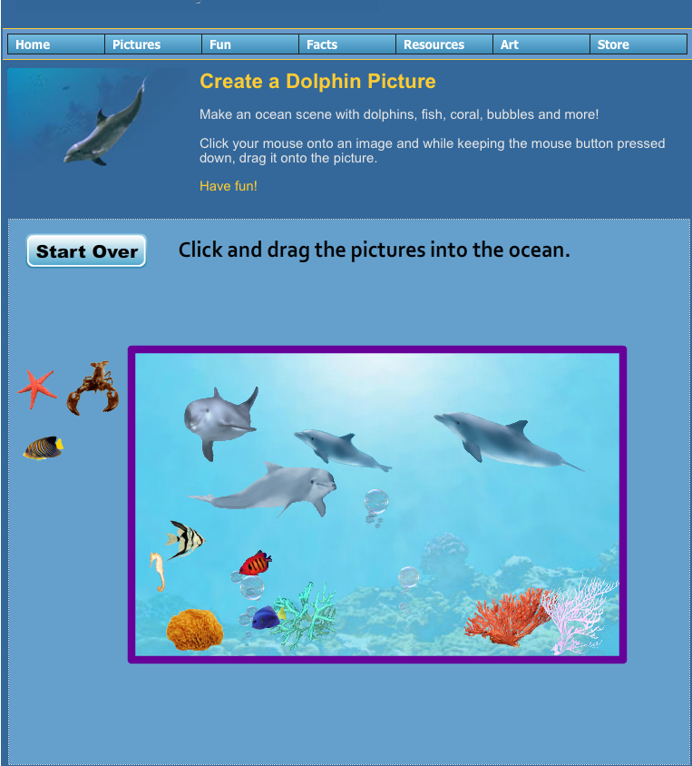 Ocean interactive computer activity - this really helped her learn to use the computer mouse today with all the clicking and having to hold to drag the items. For not yet being 3 yrs yet she did really well! activity is at http://www.dolphinkind.com/dolphin_creation.html