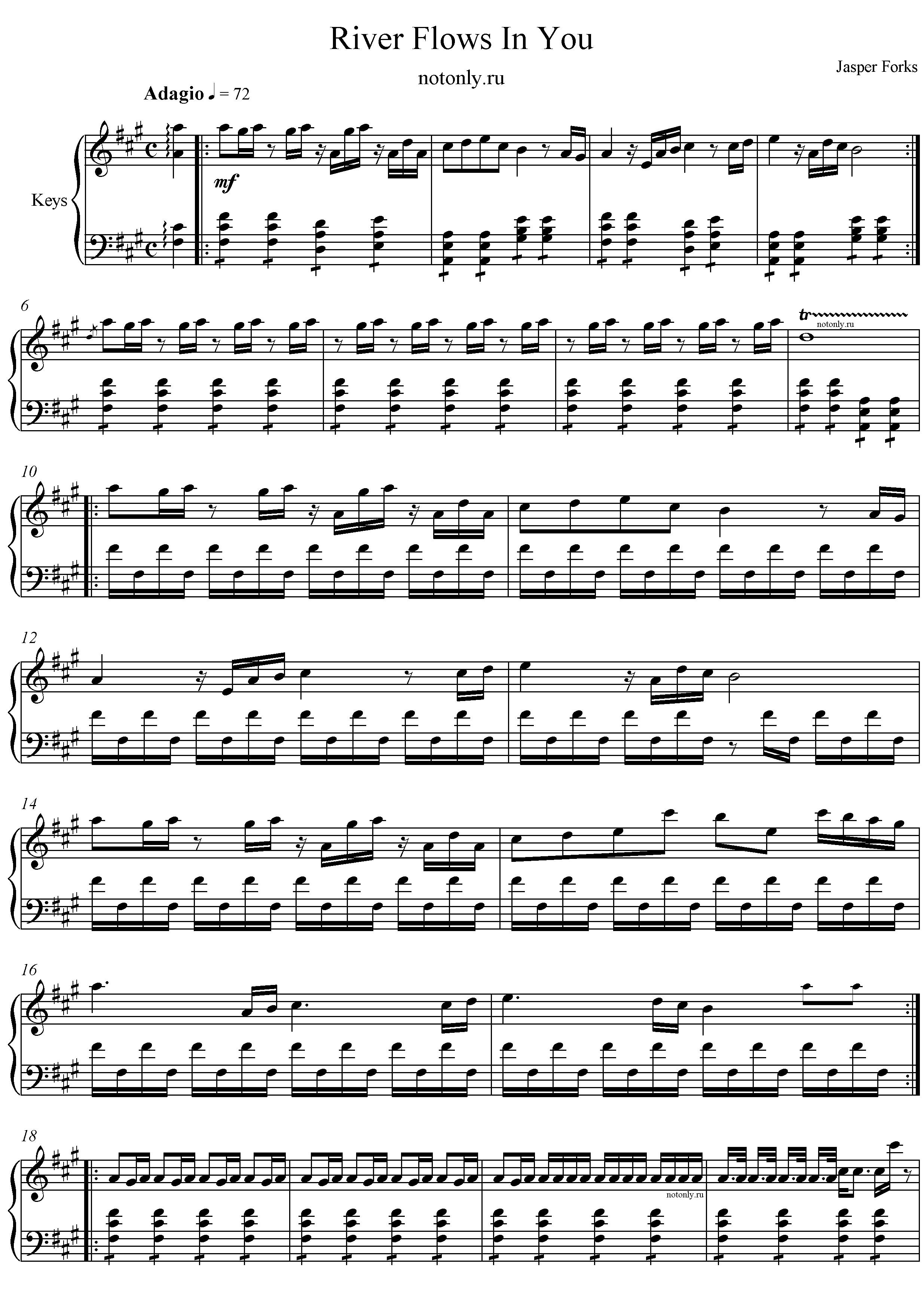 Ноты для фортепиано мелодия слез