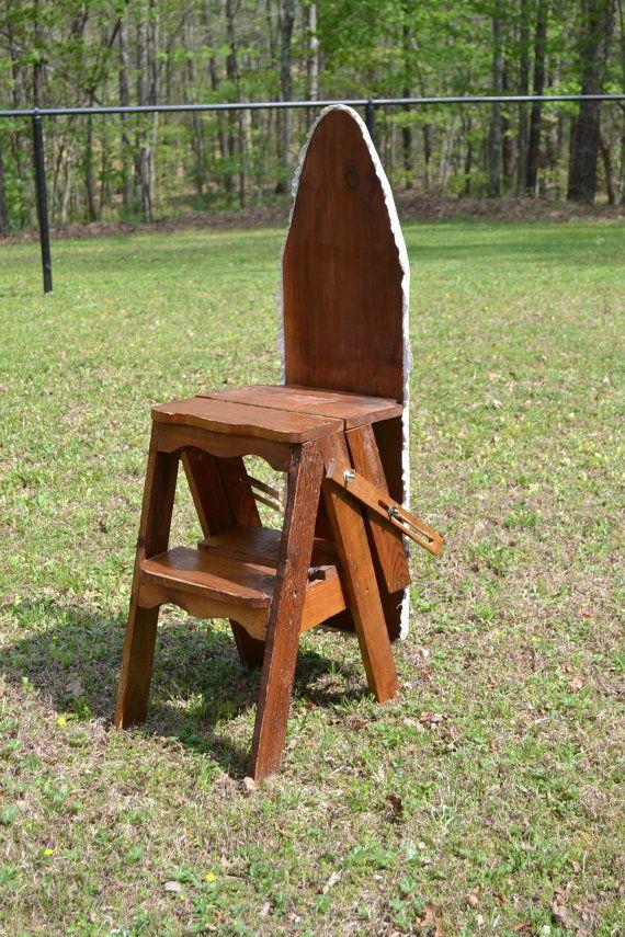 Vintage Wood Ironing Board Ladder Chair Rustic by PanchosPorch, $150.00 - Vintage Wood Ironing Board Ladder Chair Rustic Handmade Primitive