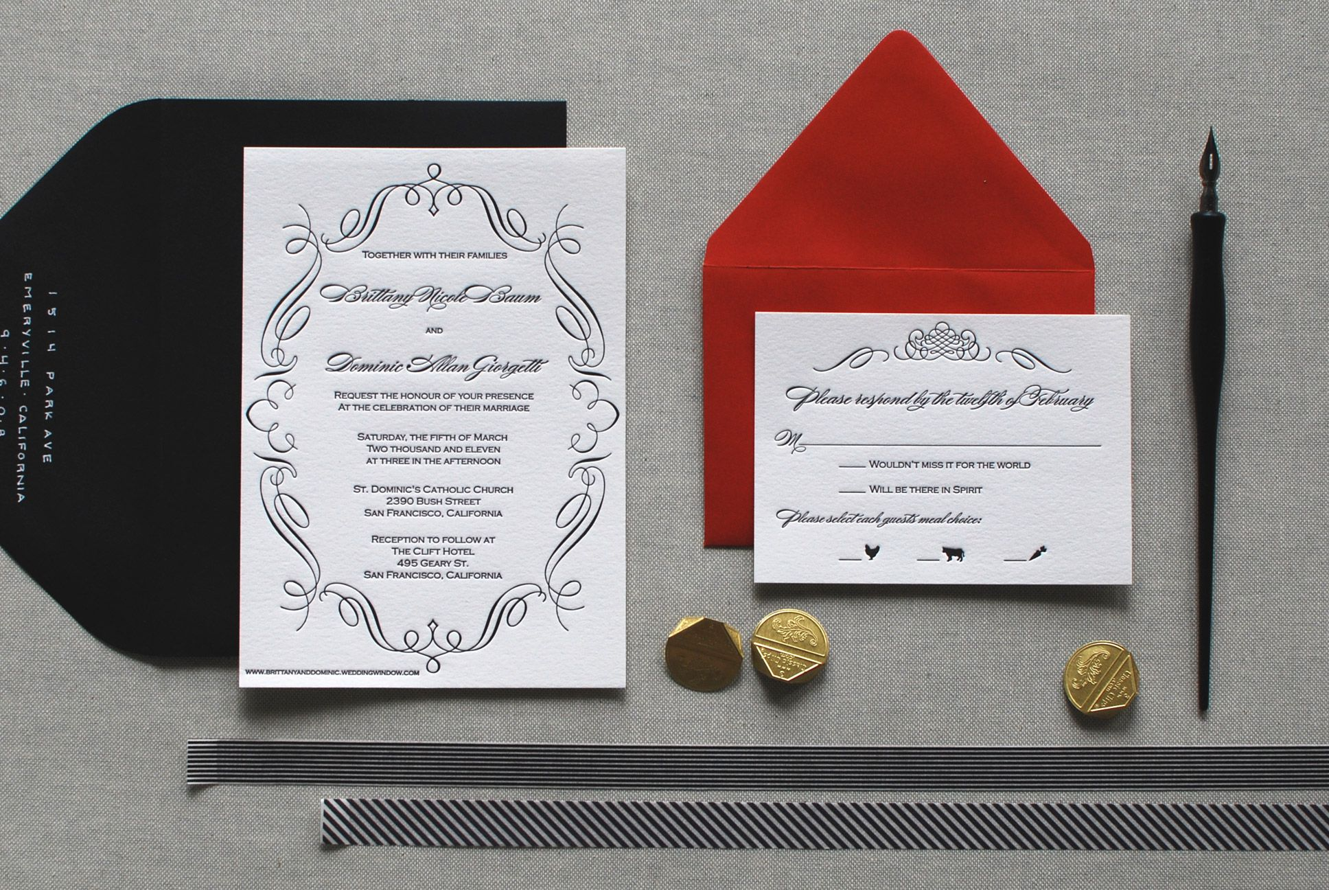 Custom Letterpress Wedding Invitations by The Aerialist Press | Oh ...