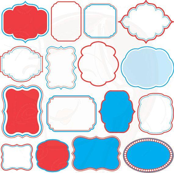 Red Blue Digital Frames Clipart Commercial Use Teacher Craft
