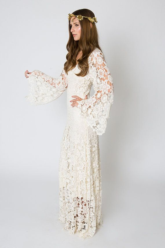Vintage Inspired Bohemian Wedding Gown Bell Sleeve Lace Crochet