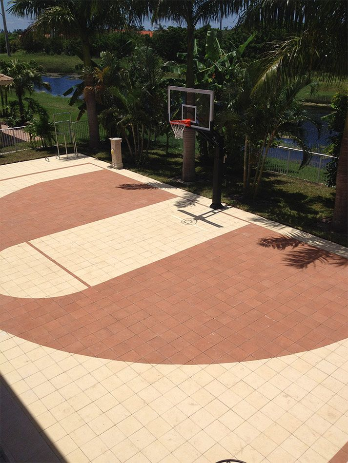 Paved basketball court! Pavers are super durable for superstar-level