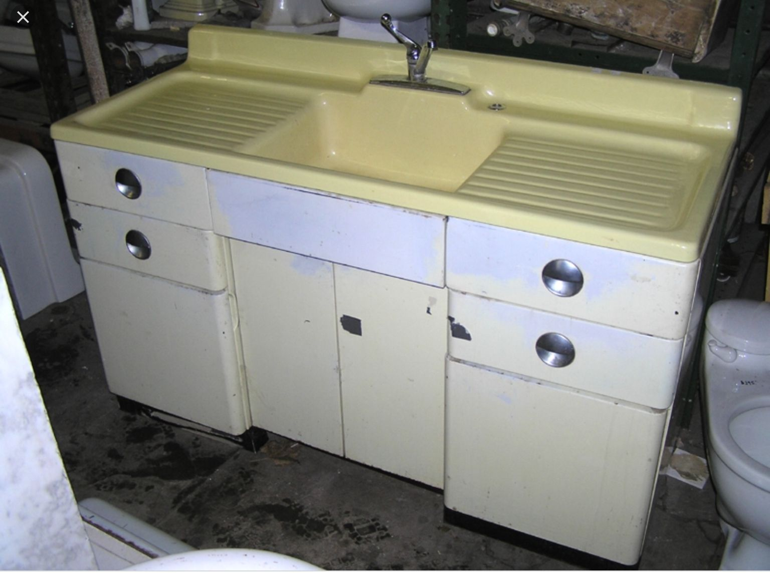 Antique Cast Iron Farmhouse Drain Board High Back Sink