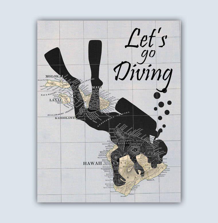 Scuba Diving Print Scuba Diver Gift Ocean Decor Deep Sea Etsy Diver Art Diving Gifts For Scuba Divers