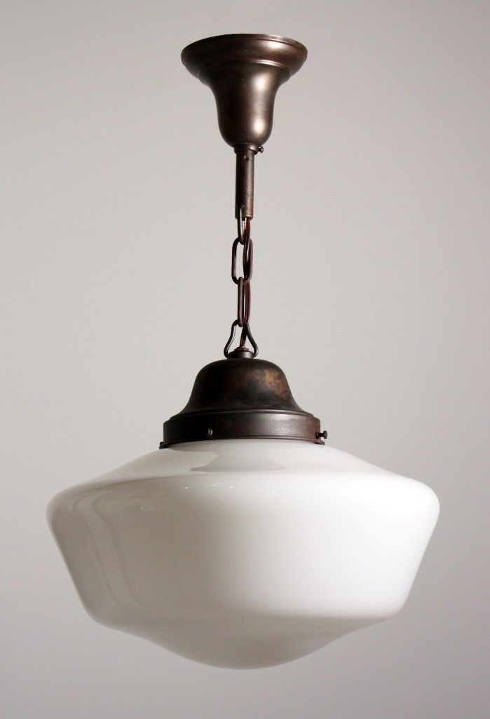 Marvelous SOLD Antique Industrial Schoolhouse Light With Glass Globe, C. 1930u0027s