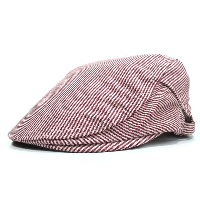 Fashion Spring Korean Style Cotton Vintage Hat Newsboy Beret Casual Cap for Women and Men Deportes Leisure Striped Classic Hats