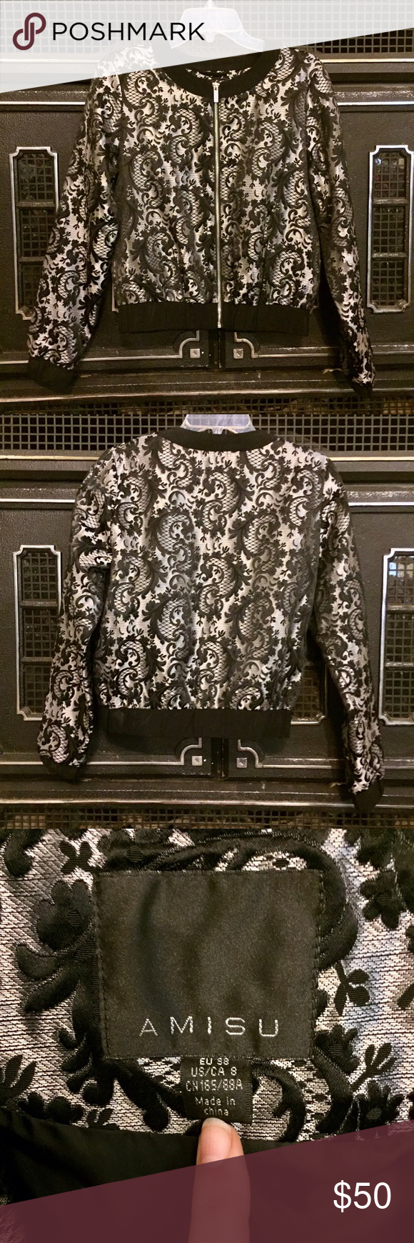Silver brocade crop jacket Truly beautiful jacket in perfect, like new condition. Never worn, but tried on so many times. I suppose I just need to be a bit bolder.  purchased at a boutique in Dubai. Euro size 38, fits size Medium best. Amisu Jackets & Coats