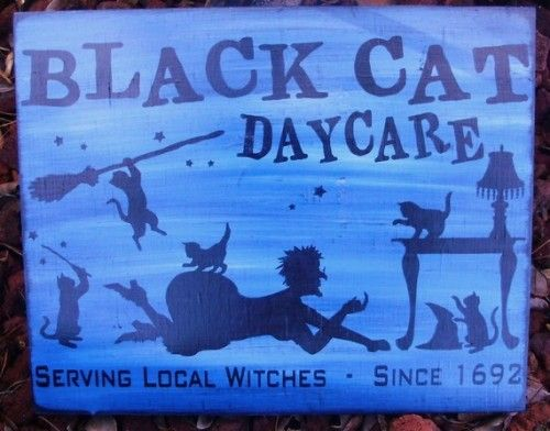 Halloween Sign Black Cats Daycare Primitive Witches Decorations - witch decorations