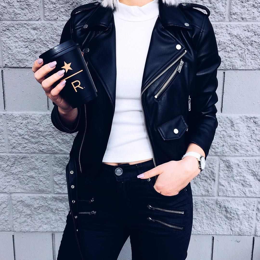 Rose On Instagram Another One Of Them Leather Jackets Wearing Zara Recklessgirls Forever21 Coffe Leather Jacket How To Wear Fashion Poses