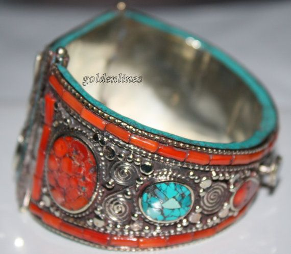 Nepalese Tibetan Handmade turquoise coral bracelet by goldenlines