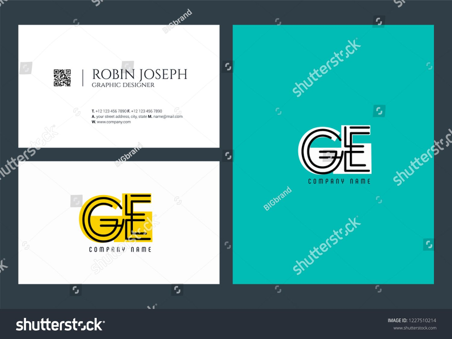 G E Joint Logo Icon With Business Card Vector Template Icon