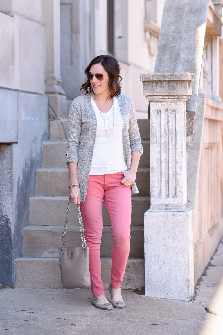ea983ae0d3 Pink Jeans Outfit with Grey Cardigan- except with my mint jeans