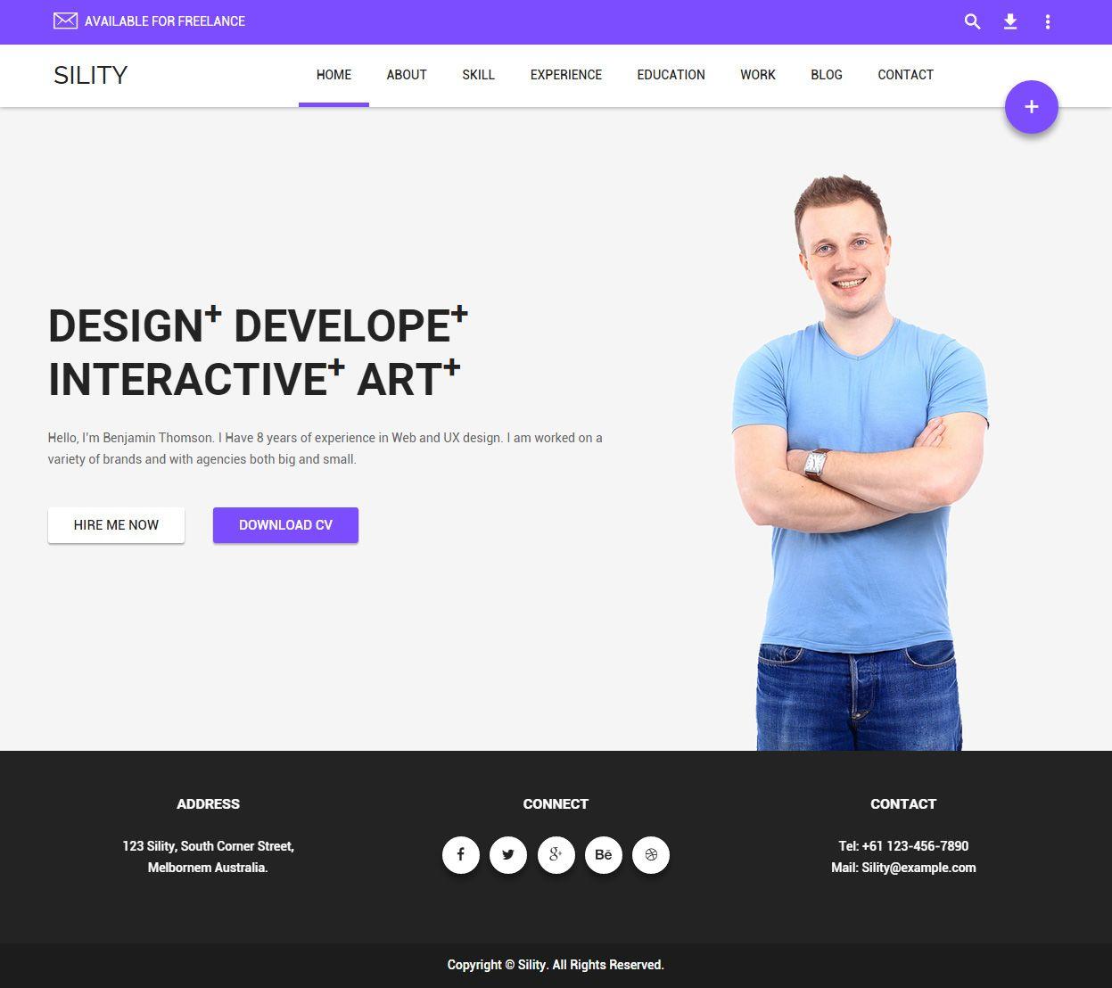 Sility - Premium Responsive CV & Resume HTML5 Template