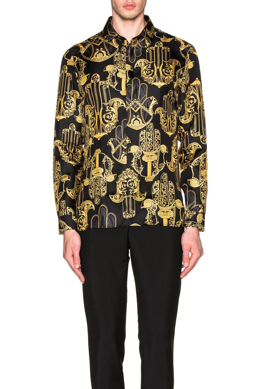 VERSACE Printed Button Down Shirt. #versace #cloth # | Versace Men ...