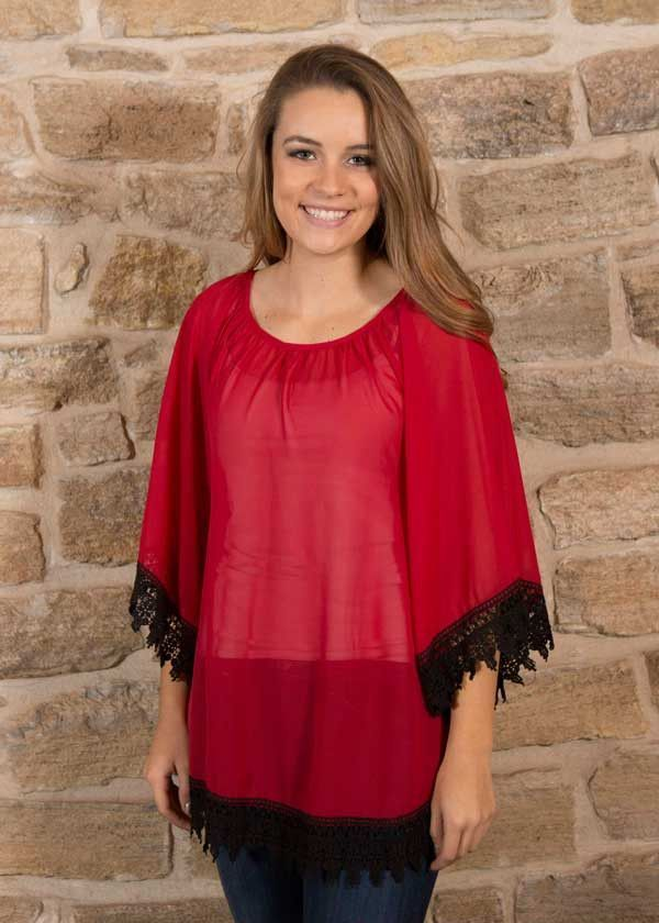 Red solid top with 3/4 sleeves and black lace