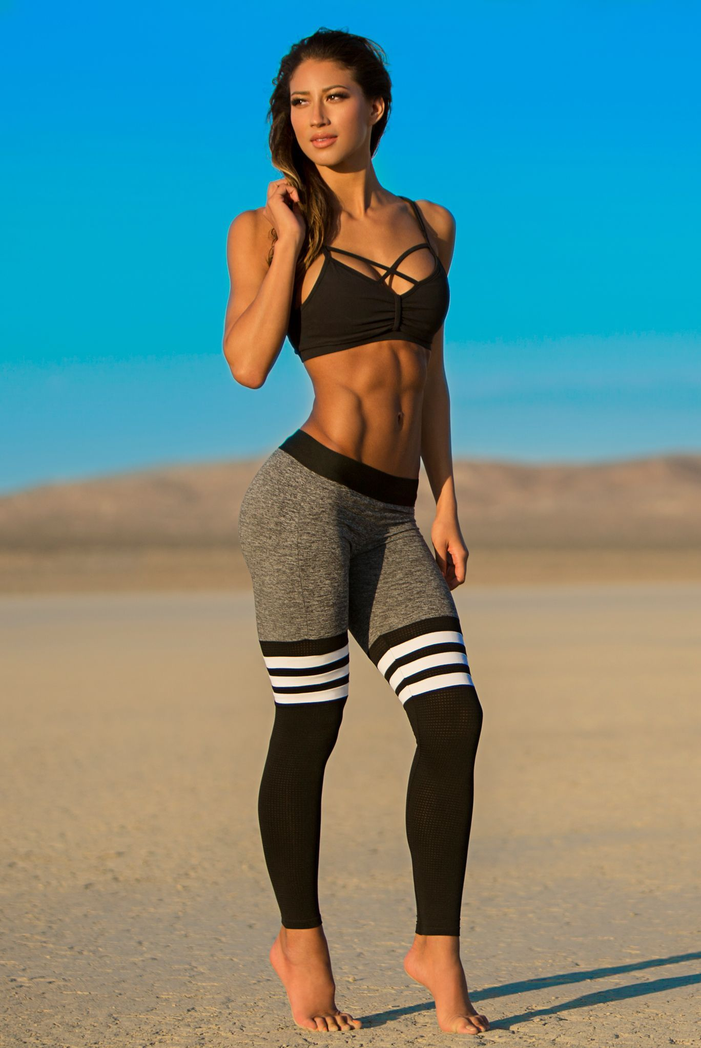 65c7fe0700 In Love With Bombshell Sportswear s Thigh-High Sock Leggings Gym Leggings