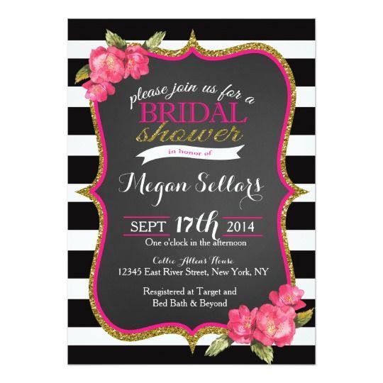 Pink Gold Black White Bridal Shower Invitation White bridal shower