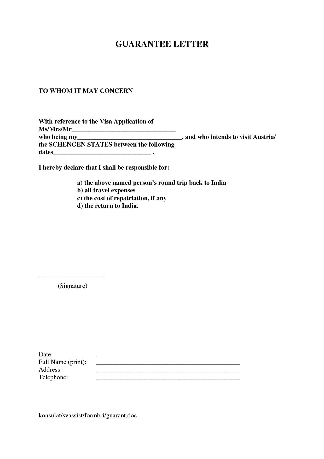 Letter financial guarantee letter for visa sample for Consul templates