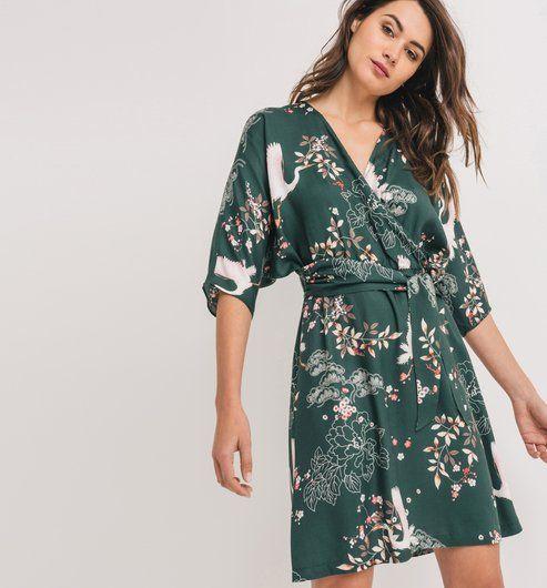 b7b698c987f3f3 Robe imprimée Femme imprimé vert - Promod | Japanese inspirations ...
