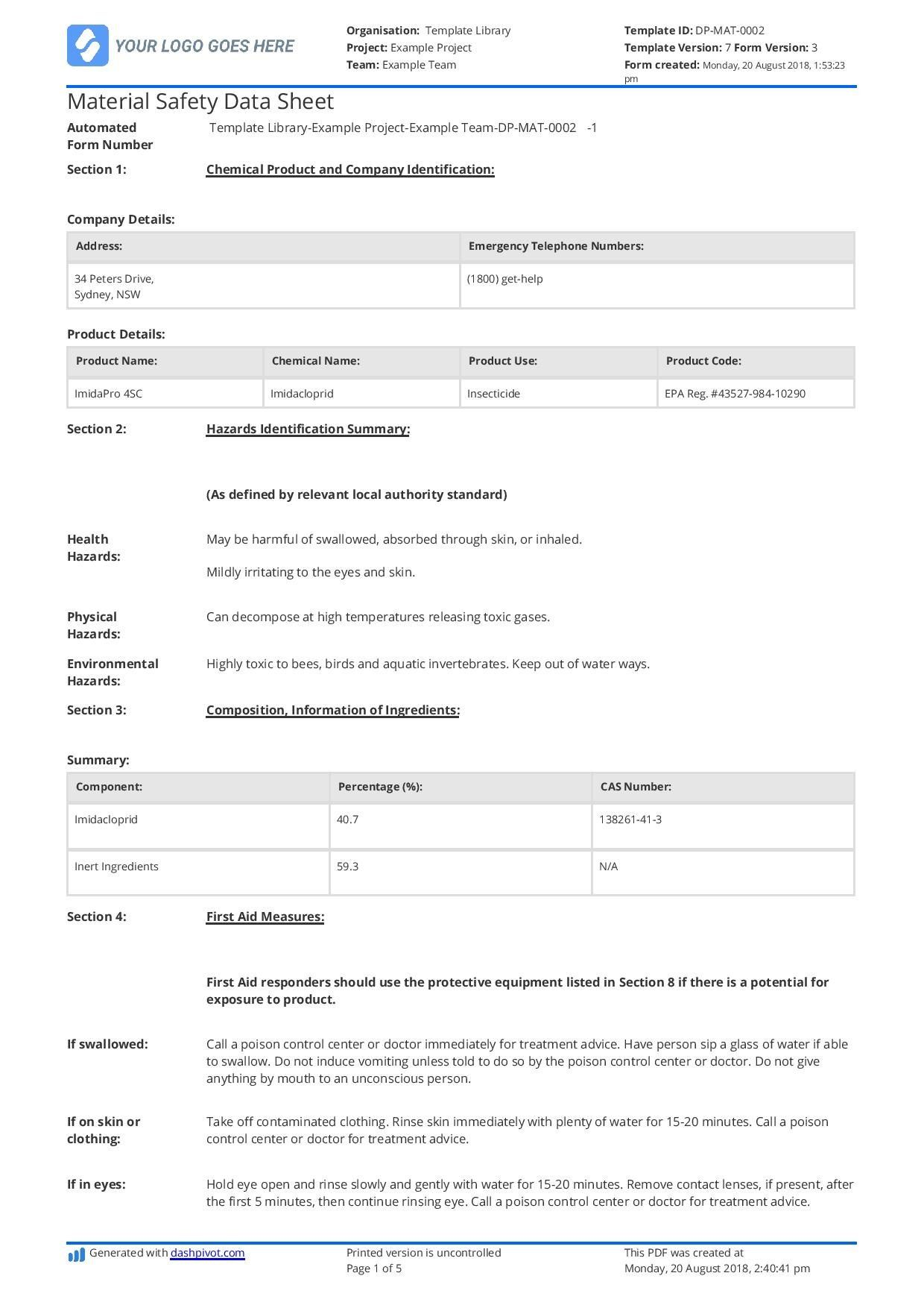Free Material Safety Data Sheet Template Better Than Wordexcelpdf In Ohs Incident Report Template Free 10 Profe Data Sheets Best Templates Business Template