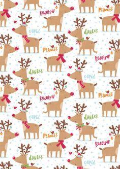 Gareth Williams - Reindeer Pattern | Fond d'écran téléphone noël, Papier de noël