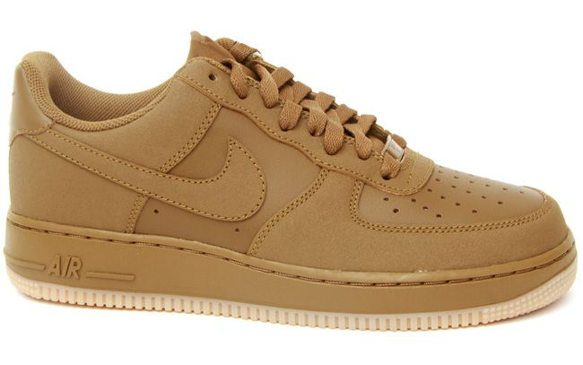 Among the Nike Air Force 1 Low's to release this season is seen here in a  milk chocolate brown color combo resting on a light gum sole.