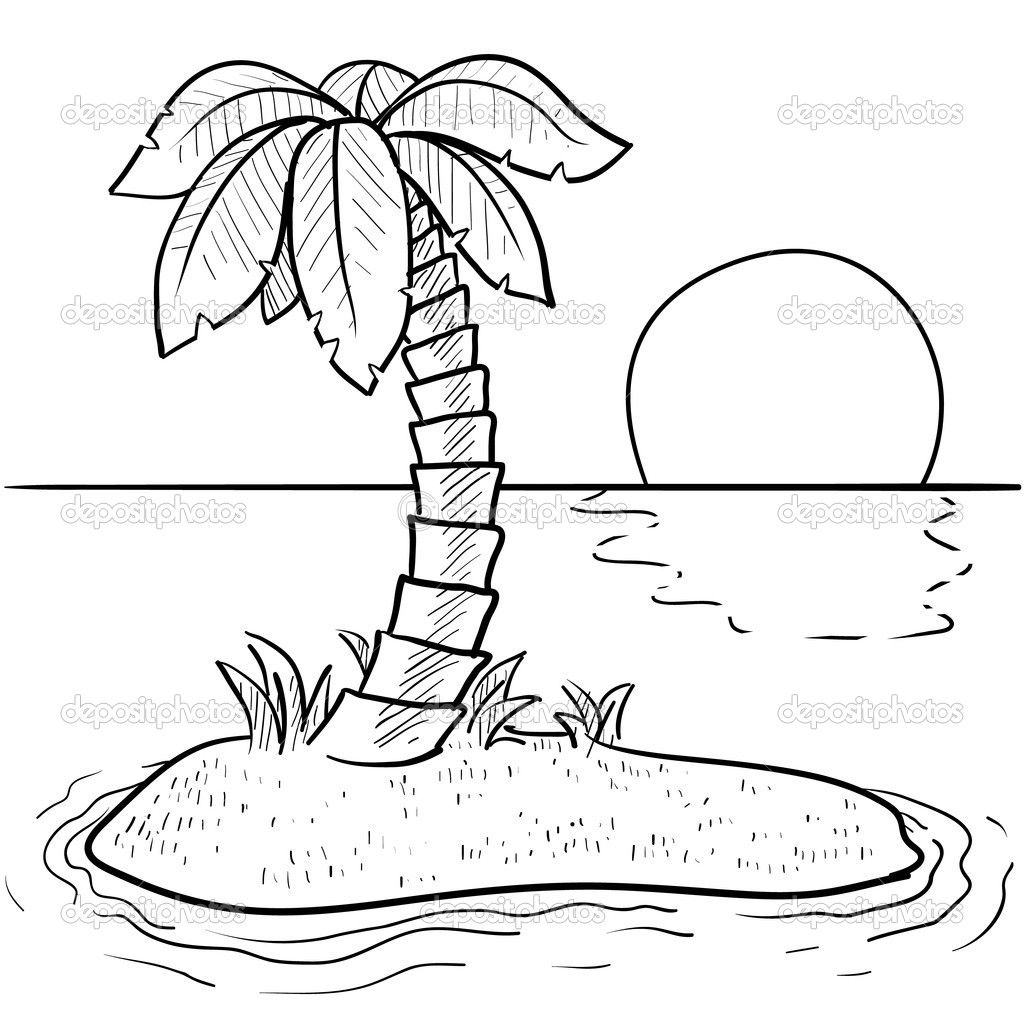 Island Coloring Pages | Tropical island coloring pages | applique ...