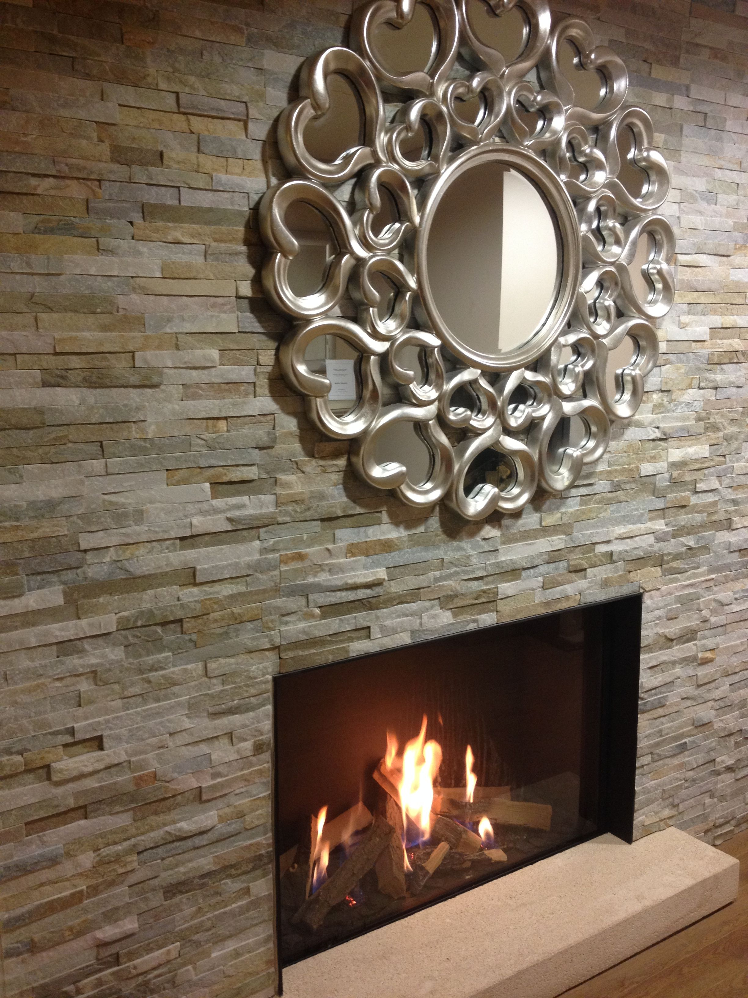 Feature oyster split face fireplace wall #tiles #naturalstone ...