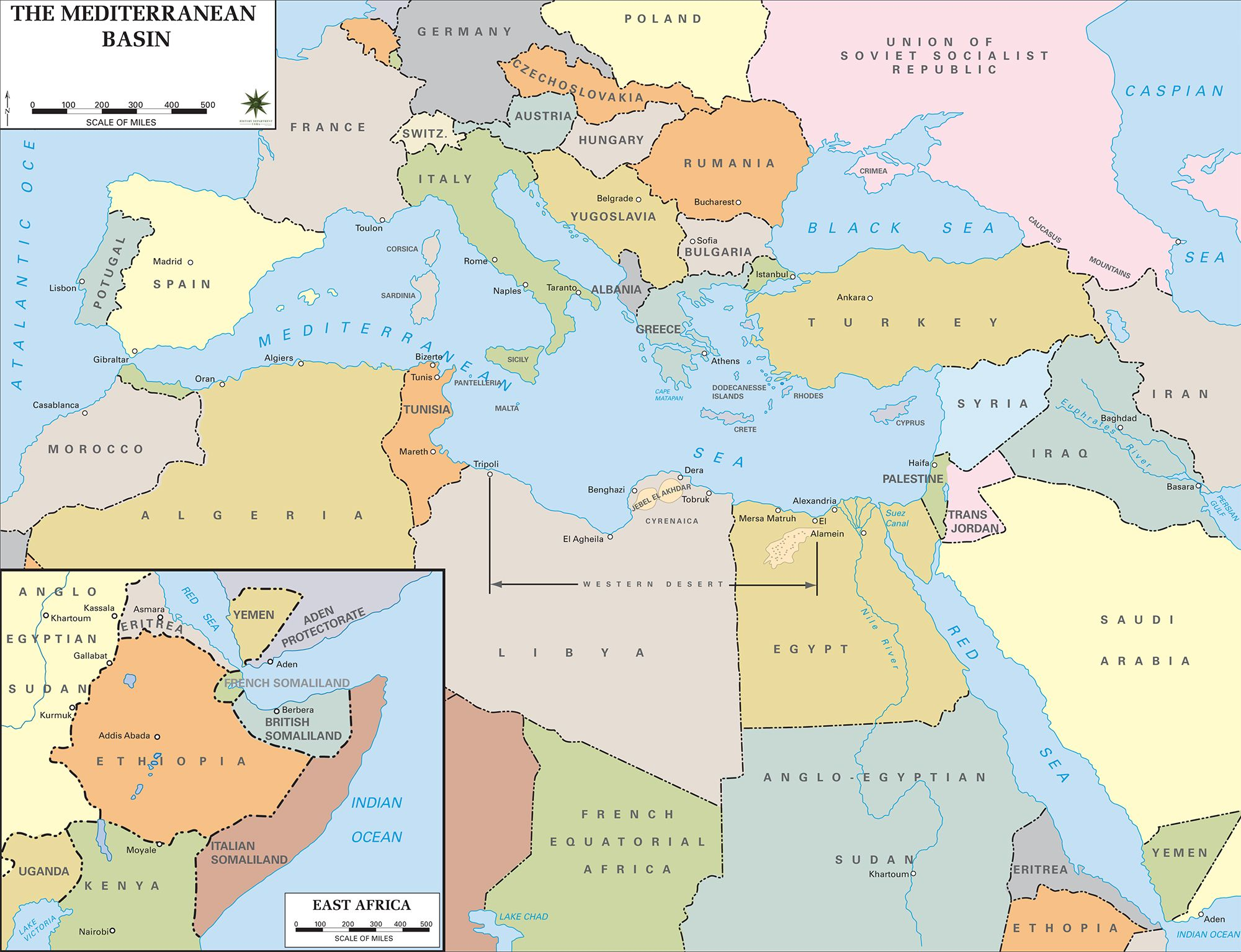 Wwii political map the countries bordering the mediterranean sea wwii political map the countries bordering the mediterranean sea southern europe asia gumiabroncs Image collections