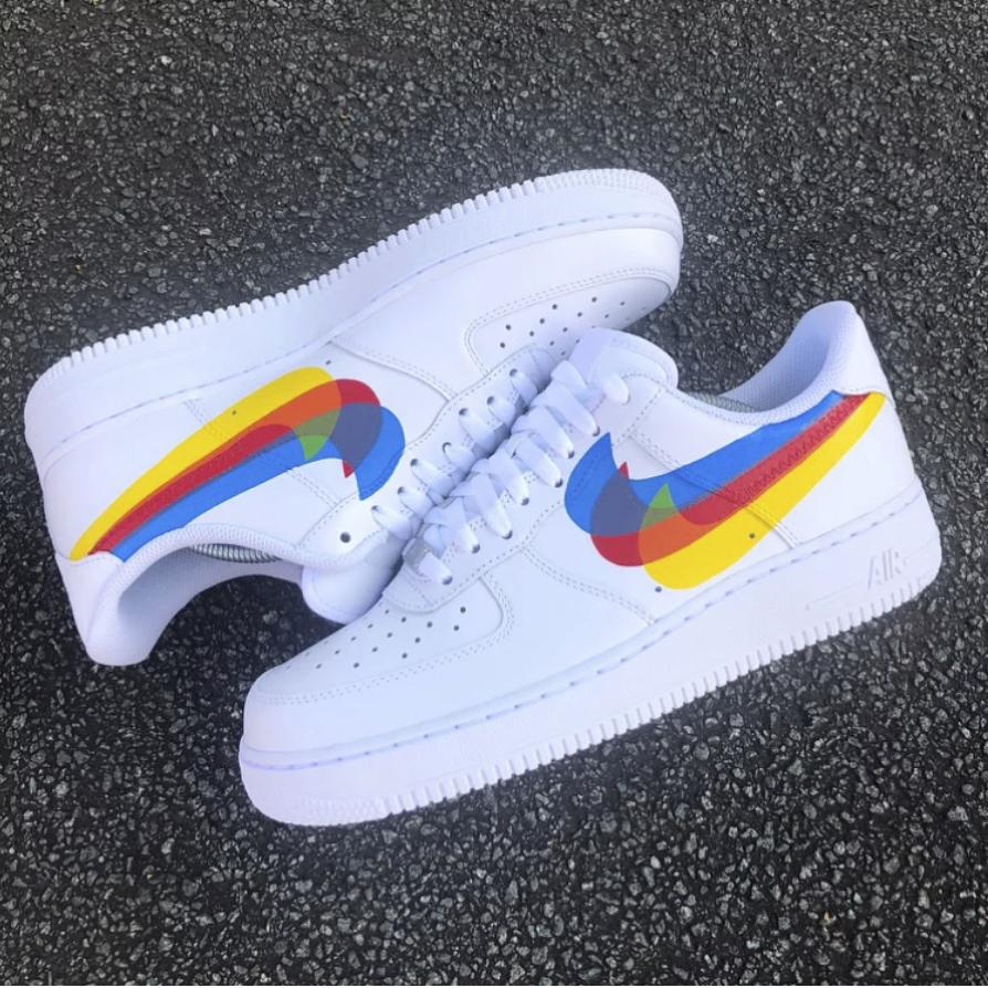 Nike af1 swoosh overlap Nike shoes air force, Custom