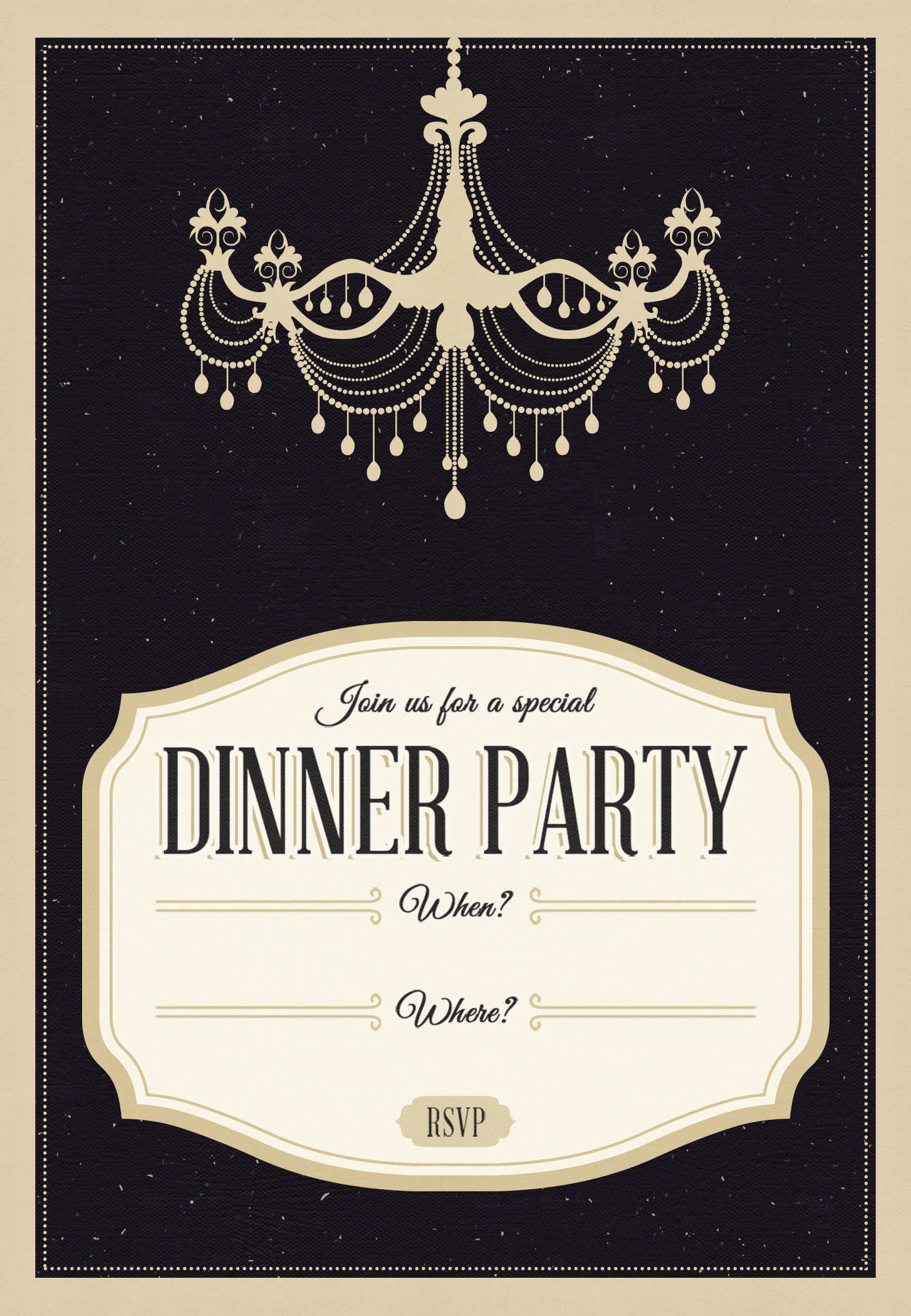 classy chandelier free printable dinner party invitation template greetings island