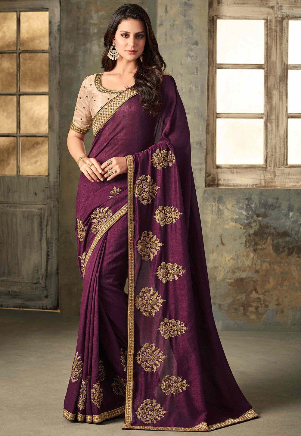 42cdf998f6 Buy Embroidered Art Silk Saree in Wine online, Item code: SYC7971, Color:  Purple, Occasion: Party, Festive, Work: Contemporary, Zari, Fabric: Art Silk,  ...
